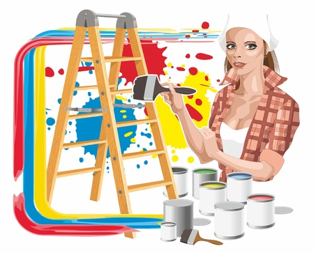 Abstract image with the girl, a paint and a step-ladder Vector