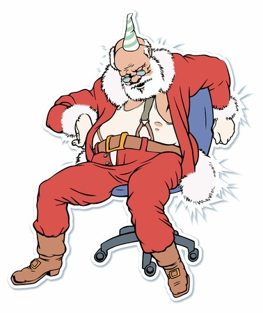 tired cartoon: Santa Claus sleeping on a chair.
