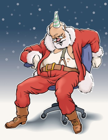 Sleeping Santa Claus on office chair. Vector