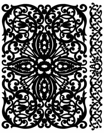 sepal: Patten lattice with a side in vegetative style Illustration