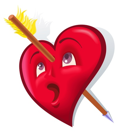 The comic image of a symbol heart pierced with an arrow Vector