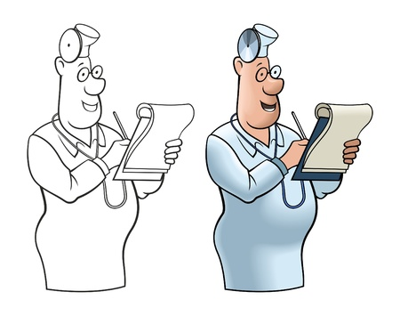 Comical image of the cheerful doctor with a notebook. Vector