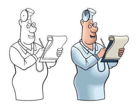 rimmed: Imagen c�mica del doctor alegre con un ordenador port�til.
