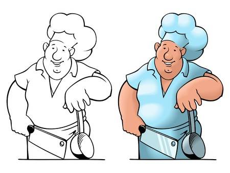 Comical image of the cheerful cook with a knife and a ladle. Vector