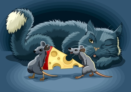 The Cunning cat keeps a check on mouse with cheese Vector
