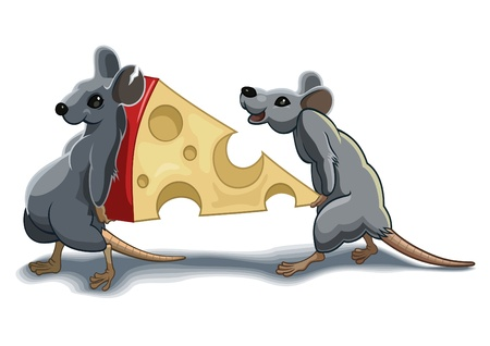 rat cartoon: Dos ratones llevar a parte del queso Vectores