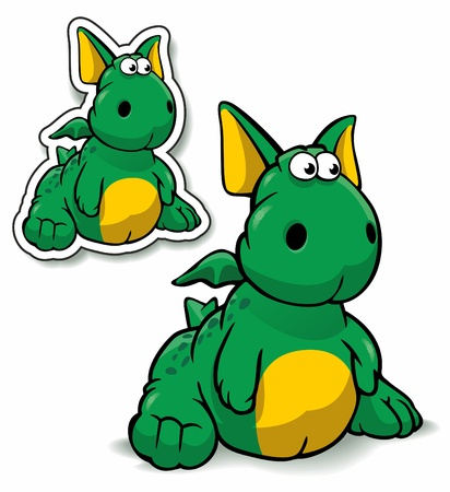 The image of an amusing toy of a ridiculous green dragon with wings Vector
