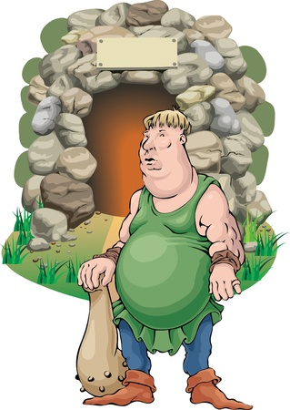 cavern: The man with a cudgel against a cave.