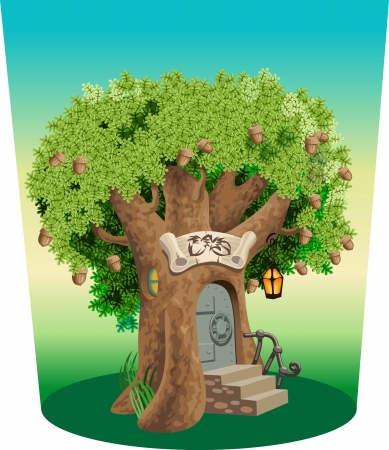 tall tree: The safe for treasure storage located in an old oak Illustration