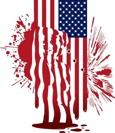 puta: La bandera de Estados Unidos, con manchas, explosión y una silueta de la mujer