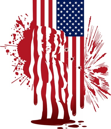 The American flag with spots, explosion and a silhouette of the woman