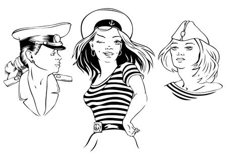 marinero: Tres retratos dibujados de hermosa ilustraci�n vectorial ni�as Vectores