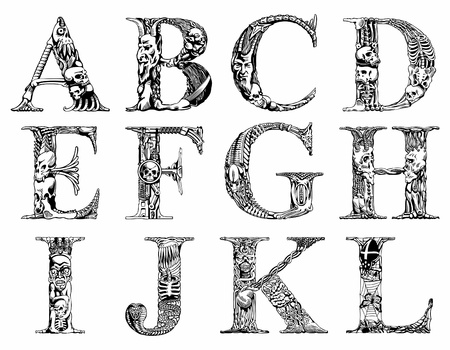 Set of vector letters with terrible symbols Stock Vector - 14752059