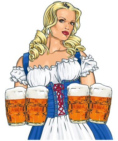The blonde girl with beer in a traditional dress. Illustration