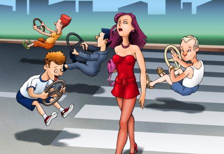 caricaturas de personas: Divertida caricatura con la carretera y ridículos hombrecillos Foto de archivo