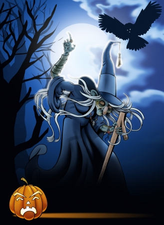 The witch on background a night landscape  Greeting card