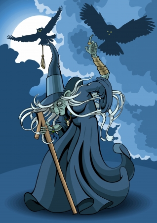 The witch on background a night landscape. Vector