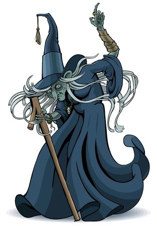 De oude tovenaar met de vinger hief Vector Illustratie