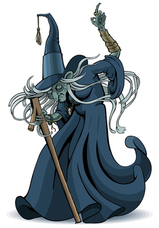 O velho feiticeiro com o dedo levantado Ilustração