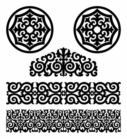 Monochrome pattern in traditional Kazakh style