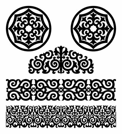 Patrón blanco y negro en el estilo tradicional de Kazajstán Ilustración de vector