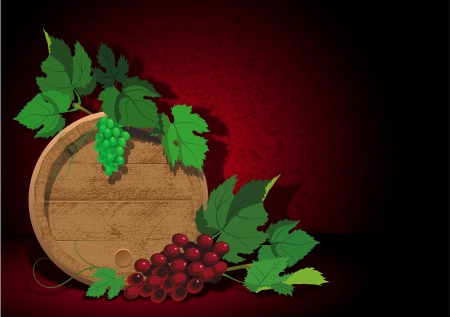 Background with a barrel for wine and ripe grapes Vector