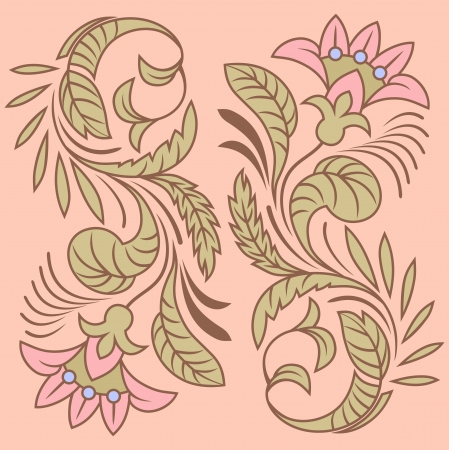 brown: Flower pattern in traditional style  illustration
