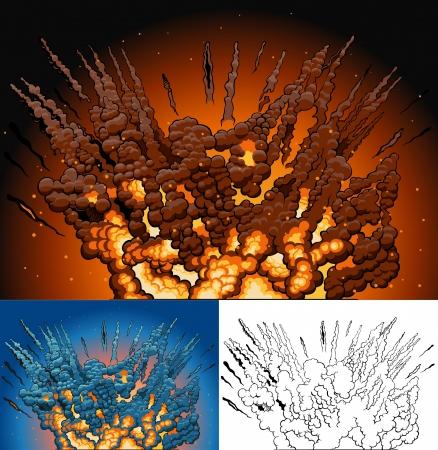 bombing: variant van explosie in de stijl van de comic book