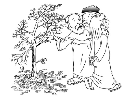fig tree: Illustration of a biblical parable about a fruitless fig Stock Photo