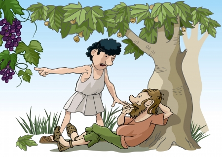 idler: Vector illustration of the biblical parable of the grape pickers