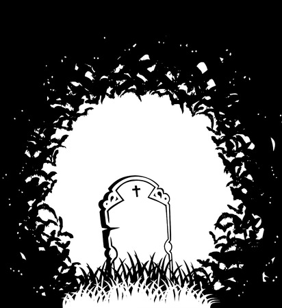 black and white image: b   w vector illustration of the grave and bats Illustration