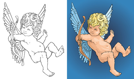 cherub: The image of an angel with a bow Illustration