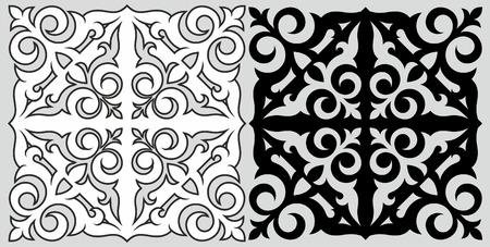 kazakh: Monochrome pattern in traditional Kazakh style