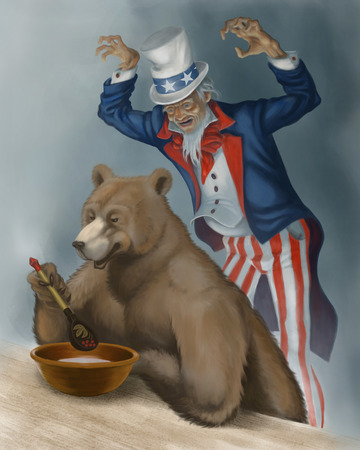 foolishness: Uncle Sam stands behind the back of big bear.