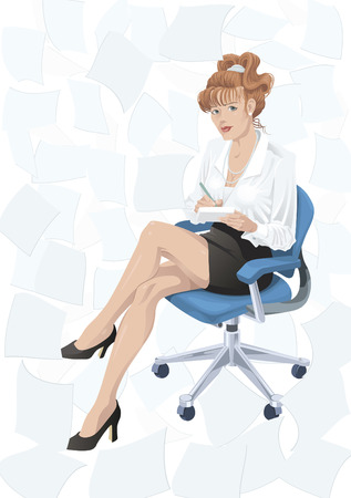 writing chair: Woman sitting on a chair surrounded by documents Illustration