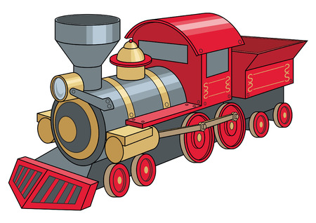 Single old red train, vector illustration
