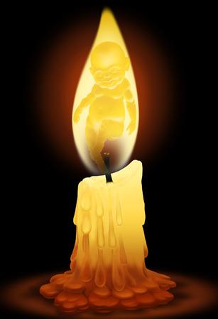 velas de navidad: Color de niño dibujo digital en la llama de una vela Foto de archivo