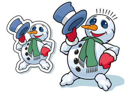 picking up: Cheerful snowman greets picking up his hat Illustration