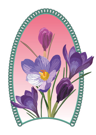fragility: Bouquet of spring flowers in an oval design Illustration