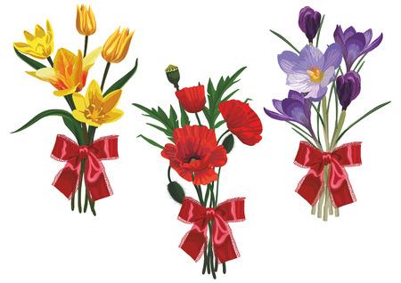 Tres de los bouquet con flores del campo