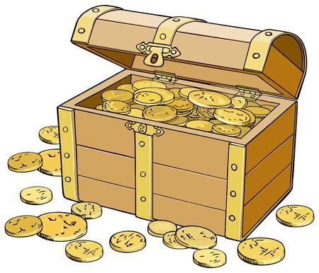 storage box: Vector illustration in color Treasure Chest