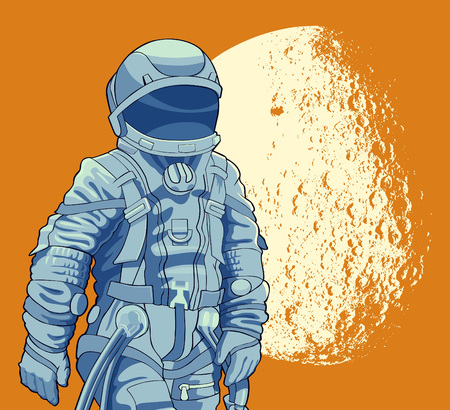 spaceport: Spaceman on the background of the moon. Vector illustration. Illustration