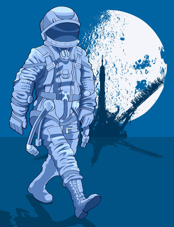 specific clothing: Astronaut walking on the surface against the backdrop of the spaceport and the moon Illustration