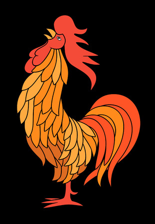 red hen: Fiery rooster on a black background. Vector illustration