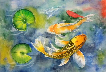 Three koi fish and lilies - watercolor illustration