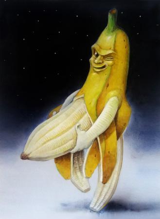 Humoristische afbeelding van een banaan met seksuele wenk. Waterverf illustratie