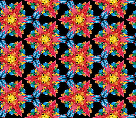 colour image: Seamless kaleidoscopic pattern with the imitation of colored glass