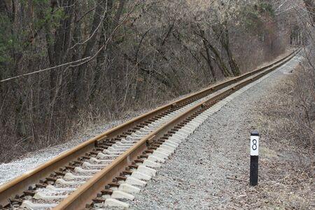 Rails railway running away in autumn park