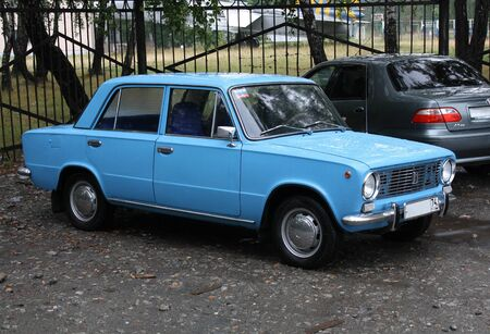 RUSSIA, Chelyabinsk - AUGUST 25, 2012 VAZ-2101 Lada blue in the summer in a parking lot in rainy weather Editöryel