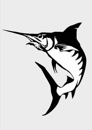 logo poisson: poissons, le marlin, le marlin noir, le logo marlin, le poisson d'illustration, l'espadon, les poissons marins Banque d'images